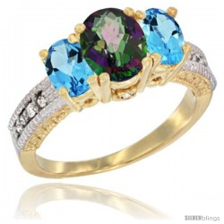 14k Yellow Gold Ladies Oval Natural Mystic Topaz 3-Stone Ring with Swiss Blue Topaz Sides Diamond Accent