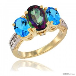 14K Yellow Gold Ladies 3-Stone Oval Natural Mystic Topaz Ring with Swiss Blue Topaz Sides Diamond Accent