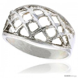 Sterling Silver Freeform Dome Ring Polished finish 3/8 in wide