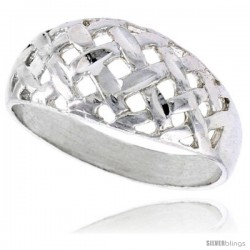 Sterling Silver Freeform Dome Ring Polished finish 3/8 in wide -Style Ffr567