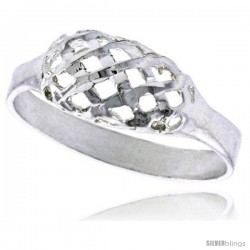 Sterling Silver Freeform Ring Polished finish 1/4 in wide -Style Ffr568
