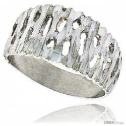 Sterling Silver Freeform Ring Polished finish 3/16 in wide -Style Ffr569