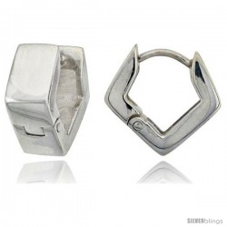 Sterling Silver Huggie Earrings Diamond Shape Flawless Finish, 9/16 in -Style Teh217