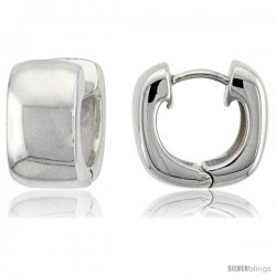Sterling Silver Huggie Earrings U-Shape Flawless Finish, 916 in