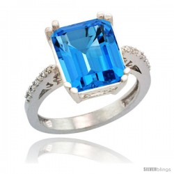 Sterling Silver Diamond Natural Swiss Blue Topaz Ring 5.83 ct Emerald Shape 12x10 Stone 1/2 in wide