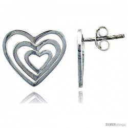 "Sterling Silver Heart Post Earrings, 9/16"" (14 mm)"