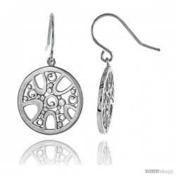 "Sterling Silver Round Hook Earrings, 13/16"" (21 mm)"