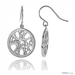"Sterling Silver Round Hook Earrings, 13/16"" (21 mm)"