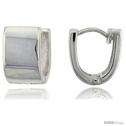 Sterling Silver Huggie Earrings U-Shape Flawless Finish, 1/2 in -Style Teh220