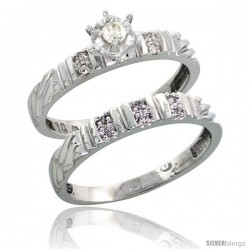 10k White Gold Ladies' 2-Piece Diamond Engagement Wedding Ring Set, 1/8 in wide -Style 10w117e2