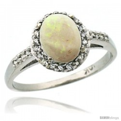 10k White Gold Diamond Opal Ring Oval Stone 8x6 mm 1.17 ct 3/8 in wide