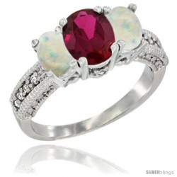 10K White Gold Ladies Oval Natural Ruby 3-Stone Ring with Opal Sides Diamond Accent