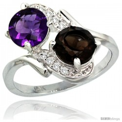 14k White Gold ( 7 mm ) Double Stone Engagement Amethyst & Smoky Topaz Ring w/ 0.05 Carat Brilliant Cut Diamonds & 2.34 Carats