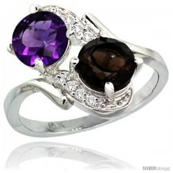 14k White Gold ( 7 mm ) Double Stone Engagement Amethyst & Smoky Topaz Ring w/ 0.05 Carat Brilliant Cut Diamonds & 2.34 Carats