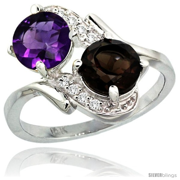 https://www.silverblings.com/2438-thickbox_default/14k-white-gold-7-mm-double-stone-engagement-amethyst-smoky-topaz-ring-w-0-05-carat-brilliant-cut-diamonds-2-34-carats.jpg