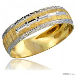10k Gold Men's Wedding Band Ring Diamond-cut Pattern Rhodium Accent, 7/32 in. (5.5mm) wide