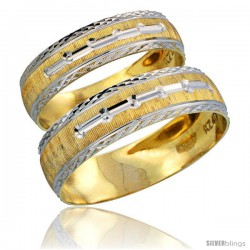 10k Gold 2-Piece Wedding Band Ring Set Him & Her 5.5mm & 4.5mm Diamond-cut Pattern Rhodium Accent