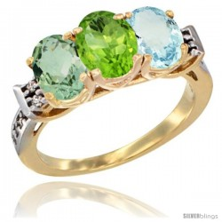 10K Yellow Gold Natural Green Amethyst, Peridot & Aquamarine Ring 3-Stone Oval 7x5 mm Diamond Accent