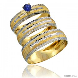 10k Gold 3-Piece Trio Blue Sapphire Wedding Ring Set Him & Her 0.10 ct Rhodium Accent Diamond-cut Pattern