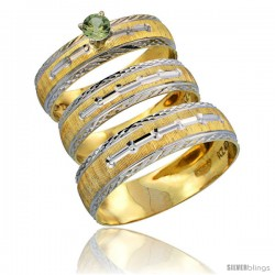 10k Gold 3-Piece Trio Green Sapphire Wedding Ring Set Him & Her 0.10 ct Rhodium Accent Diamond-cut Pattern