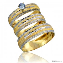 10k Gold 3-Piece Trio Light Blue Sapphire Wedding Ring Set Him & Her 0.10 ct Rhodium Accent Diamond-cut Pattern