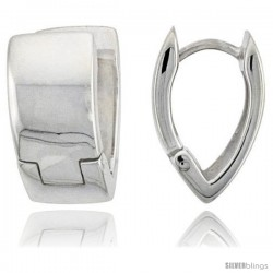 Sterling Silver Huggie Earrings V-Shape Flawless Finish, 5/8 in