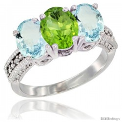 14K White Gold Natural Peridot & Aquamarine Sides Ring 3-Stone Oval 7x5 mm Diamond Accent