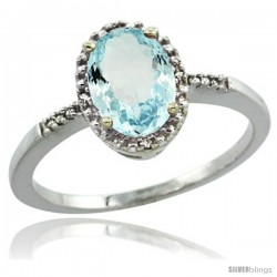 14k White Gold Diamond Aquamarine Ring 1.17 ct Oval Stone 8x6 mm, 3/8 in wide