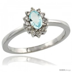 14k White Gold Diamond Halo Aquamarine Ring 0.25 ct Oval Stone 5x3 mm, 5/16 in wide