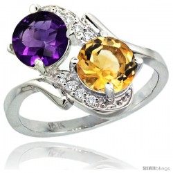 14k White Gold ( 7 mm ) Double Stone Engagement Amethyst & Citrine Ring w/ 0.05 Carat Brilliant Cut Diamonds & 2.34 Carats