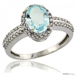 14k White Gold Diamond Halo Aquamarine Ring 1.2 ct Oval Stone 8x6 mm, 3/8 in wide