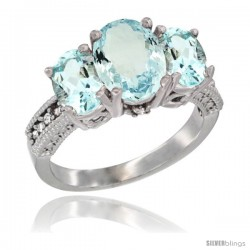 14K White Gold Ladies 3-Stone Oval Natural Aquamarine Ring Diamond Accent