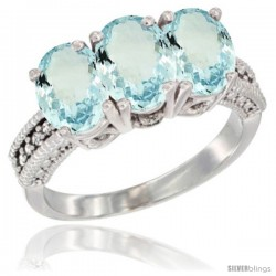 14K White Gold Natural Aquamarine Ring 3-Stone Oval 7x5 mm Diamond Accent