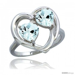 14k White Gold 2-Stone Heart Ring 6mm Natural Aquamarine Stones Diamond Accent