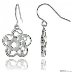 "Sterling Silver Flower Hook Earrings, 3/4"" (19 mm)"