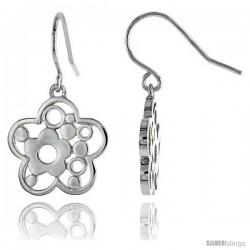 """Sterling Silver Flower Hook Earrings, 3/4"""" (19 mm)"""