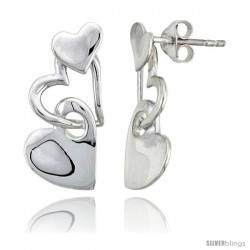 "Sterling Silver Heart Post Earrings, 7/8"" (22 mm)"