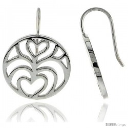 "Sterling Silver Round Hook Earrings, 11/16"" (18 mm)"