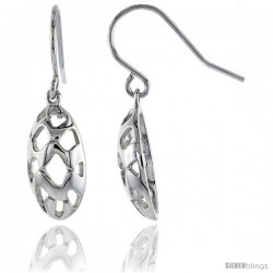 "Sterling Silver Oval Hook Earrings, 3/4"" (19 mm)"