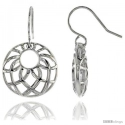 "Sterling Silver Round Hook Earrings, 13/16"" (21 mm) -Style Tep610"