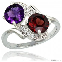 14k White Gold ( 7 mm ) Double Stone Engagement Amethyst & Garnet Ring w/ 0.05 Carat Brilliant Cut Diamonds & 2.34 Carats Round