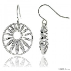 "Sterling Silver Round Hook Earrings, 13/16"" (21 mm) -Style Tep611"