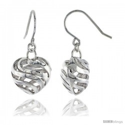 "Sterling Silver Heart Hook Earrings, 9/16"" (14 mm)"