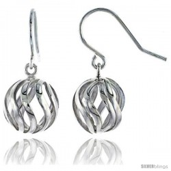 "Sterling Silver Ball Hook Earrings, 9/16"" (15 mm)"