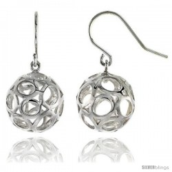 """Sterling Silver Ball Hook Earrings, 11/16"""" (17 mm)"""