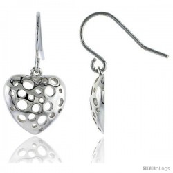 Sterling Silver Heart Hook Earrings, 9/16 (14 mm) -Style Tep616