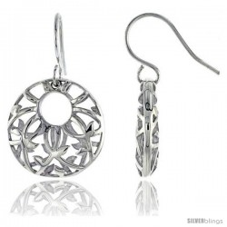 "Sterling Silver Round Hook Earrings, 3/4"" (19 mm)"