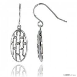 """Sterling Silver Oval Hook Earrings, 13/16"""" (20 mm)"""