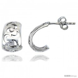 "Sterling Silver Half-moon Post Earrings, 1/2"" (13 mm)"