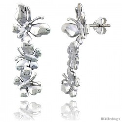 "Sterling Silver Butterfly Post Earrings, 13/16"" (30 mm)"